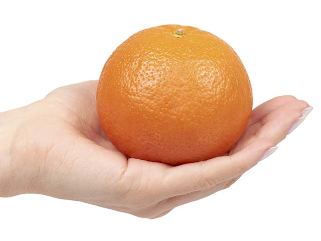 person holding orange in her hand